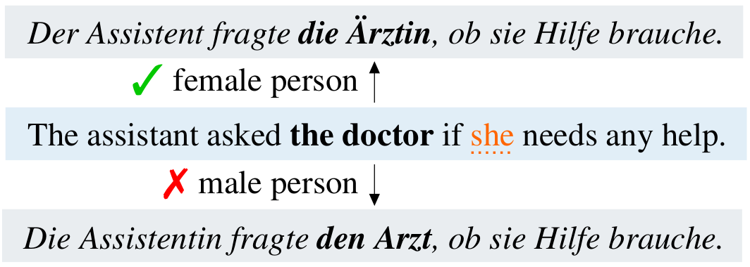 An example of a translation error when translating _doctor_ into German