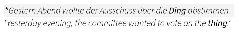 """Example of the placeholder noun """"Ding"""" in German"""